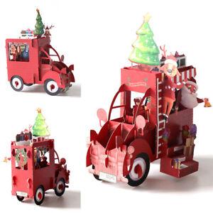 3D Christmas Greeting Card Car Shape Xmas Santa Claus Paper Pop Up Card