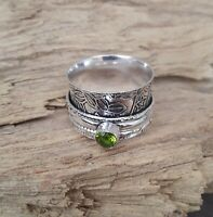 Peridot Stone Solid 925 Sterling Silver Spinner Ring Meditation Ring Size V908