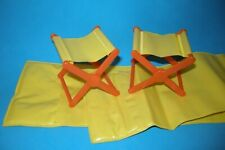 Barbie Doll Yellow Camping Chairs & Sleeping Bags 1970's Camper furniture