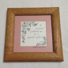 "Quarrel Theme Framed Art Original Sani Square Matted Wood Glass Floral 6.5""x6.5"""