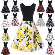 Ladies Vintage Style Retro 1940s 50s Rockabilly Evening Swing Skaters Tea Dress