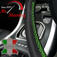 FOR INFINITI M 03-13 BLACK LEATHER STEERING WHEEL COVER, GREEN STIT