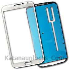 Schermo Vetro per Samsung Galaxy Note 2 N7100 Bianco Touch Screen Biadesivo