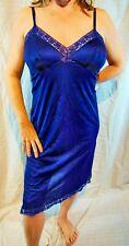 Dreamy! Vanity Fair Elegant Blue Slippery Nylon Lacy Full Slip 40 Long Evc