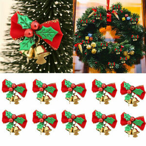1-20Pcs Red Fabric Bows With Bells Decoration Christmas Xmas Party Tree Ornament