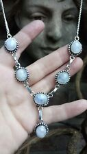 Artisan Natural Rainbow Moonstone & Silver 925 Bohemian Necklace