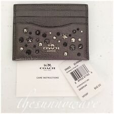 COACH Flat Card Case Holder Clutch Metallic Graphite Leather Star Rivets/Grommet