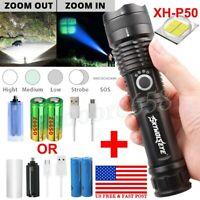 XHP P50 MOST POWERFUL FLASHLIGHT Zoom USB TORCH HUNTING LAMP Set AAA/26650 US