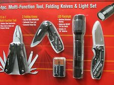 4 PC SNAP-ON TOOL SET Multi Function Tool + 2 Folding Knives + LED Flashlight