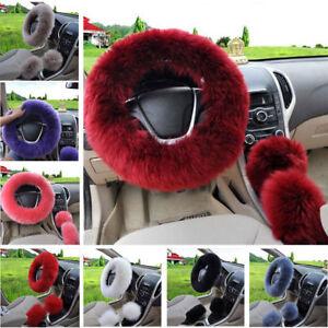 Car Steering Wheel Cover Winter Essential Furry Fluffy Warm Soft Set Accessory