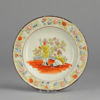 19C English Porcelain Pearlware Plate 'Colonial scene' flower ornaments