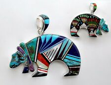 ARTISTIC BEAR PENDANT IN TURQUOISE/MULTICOLOR INLAY IN  .925 STERLING SILVER