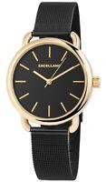 Excellanc Damenuhr Schwarz Gold Analog Metall Meshband Armbanduhr X1300017001