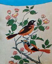 Vintage Creative Stitchery Orioles Pillow Kit Stitch Crewel Sew Needlework EUC