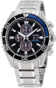Citizen Eco-Drive Men's Chronograph Silver-Tone Bracelet 46mm Watch CA0719-53E