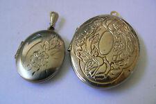 Lot of 2 Vintage silver & Gold tone floral design locket pendants