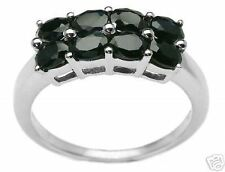 1.50ctw Genuine MIDNIGHT SAPPHIRE double row ovals RING .925 Sterling Silver NEW