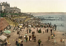 "P31 Vintage 1890's Photochrom Photo Beach At Bridlington - Print A3 17""x12"""