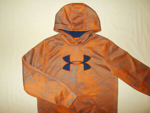 UNDER ARMOUR COLD GEAR ORANGE & GRAY HOODED SWEATSHIRT BOYS LARGE EXCELLENT.