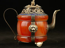 Beautiful Chinese Tibet Silver Red jade Teapot