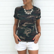 HOT Military Women T Shirt Ladies Girl Camouflage Casual Short Sleeve Blouse TOP