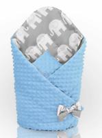 BABY SWADDLE WRAP NEWBORN DIMPLE INFANT BEDDING  Blue-Elephants