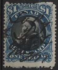 Canada VanDam # FB52 $1.00 blue & black bill stamp of 1868