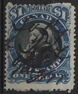Canada VanDam # FB52 $1.00 blue & black bill stamp of 1868