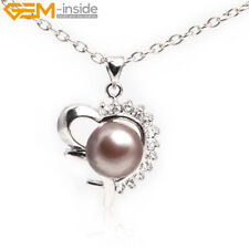 Natural Pearl Rhinestone White Gold Plated Locket Free Chain Pendant Necklace