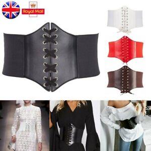 Women Ladies Waist Cincher Wide Band Elastic Tied Waspie Corset Leather Belt UK