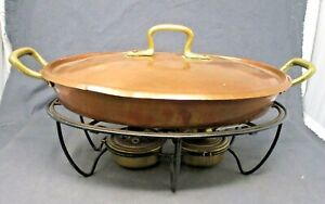 Vintage Oval Hammered Copper Tin Lined Chafing Dish Food Warmer Buffet Stand