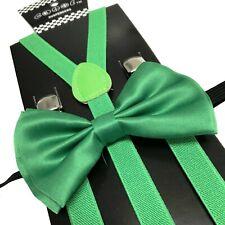 Green Skinny Suspender & Bow Tie Set for Adults Men Women Teens Prom Wedding