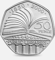 2000 50P COIN RARE PUBILIC LIBRARY ACT 50TH ANNIVERSARY FIFTY PENCE a