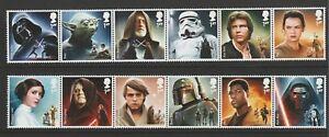 GB 2015 Star Wars Movie Stamps SG 3758-3769 MNH