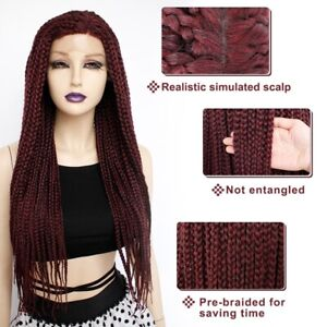 Women Lace Front Wigs Glueless Wine Red Wig Twist Braided Synthentic Long Braids