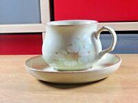Vintage Denby Daybreak Pattern Fine Stoneware Tea Cup And Saucer Free UK P&P