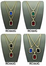 Hip Hop Micro Red,Blue,Black,Green Stone Pendant Box Chain 2-3 Necklace Set