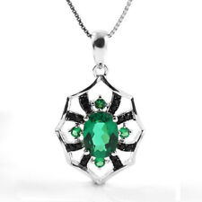 1ct Beautiful Oval Emerald & Black Spinel Neckace Pendant Solid Sterling Silver