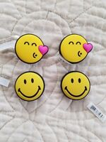 1Set of 4 Jibbitz Crocs Charms - 2  smiley kissing smile and 2 smiley face