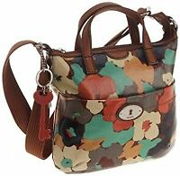 Fossil Key-Per Cross-body Oilcloth Bag With Brown Leather Carry Straps & Trim