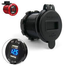 Black CNC 12V Car Lighter Plug Dual USB Charger Socket 4.2A w/ Voltage Display