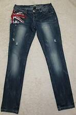 ALMOST FAMOUS Jeans skinny Painted red,white, blue Distress Tag=7 Actual 29x31.5