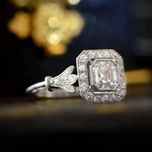 1.2 Ct CZ Antique Asscher Cut Vintage Engagement Ring In 925 Sterling Silver