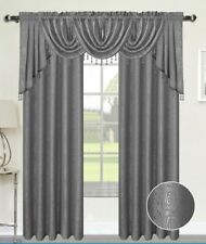 ANGELINA DAMASK TEXTURED CURTAINS, SILVER