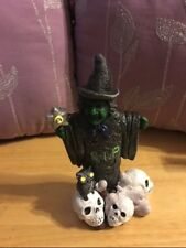 *~New Halloween Witch W/ Skulls & Owl Resin Light up Figurine -Hand painted