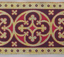 Jacquard, Vestment Trim. Gold & Red, 3½ inches Wide