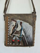 Brown Embroidered Horse Head  Cross-body Concealed Gun Carry Messenger Bag