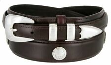 Hagora Men Oil-Tanned Native American Concho 4 Piece Silver Buckle Leather Belt