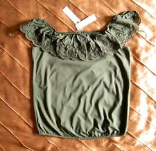 ESPRIT CARMEN OFF SHOULDER SHIRT KHAKI GRÜN GREEN LOCHSTICKEREI XS, 34 NEU