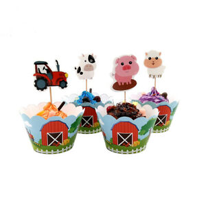 Kids Farm Animal Birthday party Cupcake Decor 12Pcs Wrappers &12Pcs Toppers